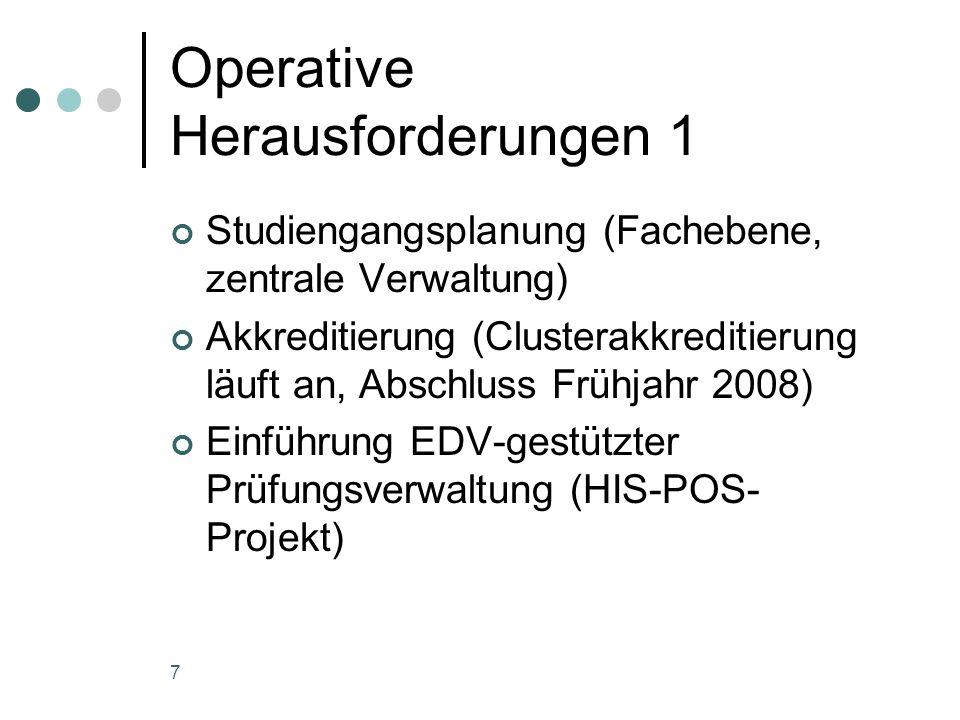 7 Operative Herausforderungen 1 Studiengangsplanung (Fachebene, zentrale Verwaltung) Akkreditierung (Clusterakkreditierung läuft an, Abschluss Frühjahr 2008) Einführung EDV-gestützter Prüfungsverwaltung (HIS-POS- Projekt)