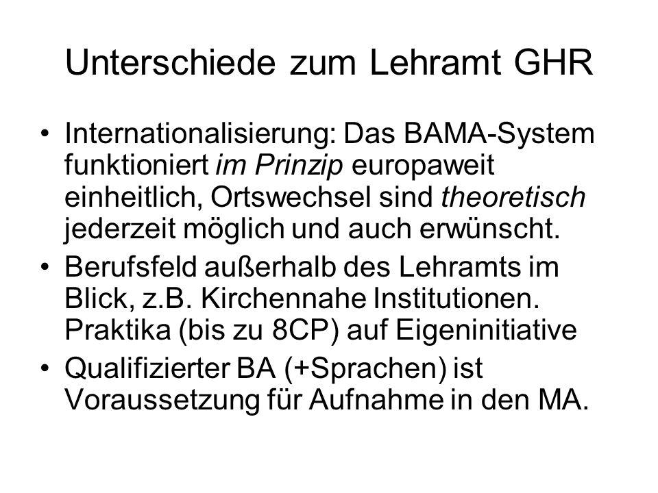 Unterschiede zum Lehramt GHR Internationalisierung: Das BAMA-System funktioniert im Prinzip europaweit einheitlich, Ortswechsel sind theoretisch jederzeit möglich und auch erwünscht.