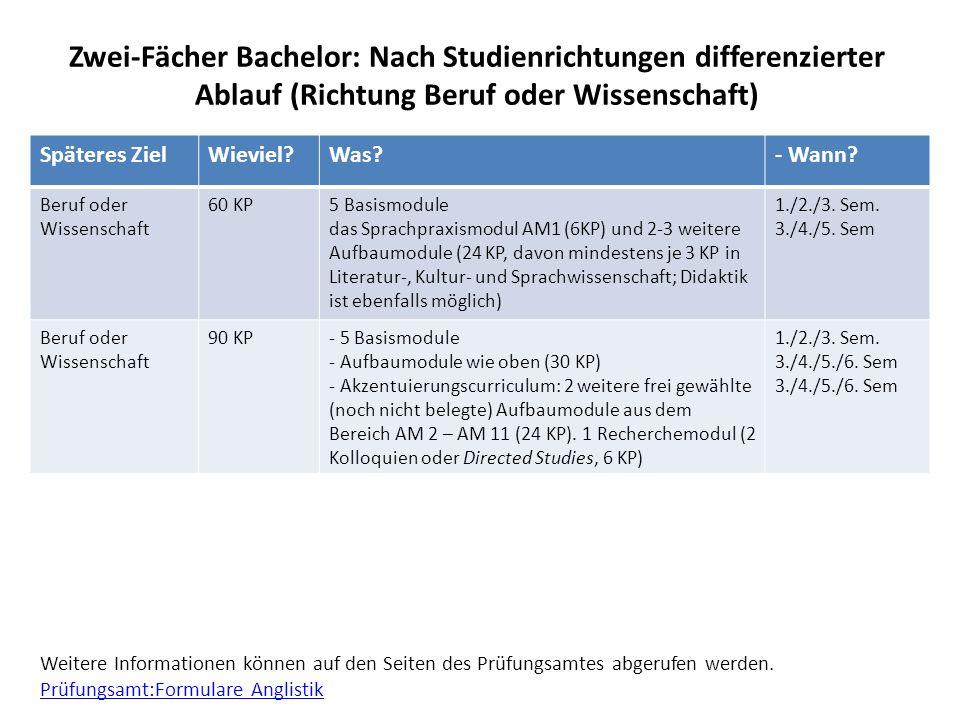 Zwei-Fächer Bachelor: Nach Studienrichtungen differenzierter Ablauf (Richtung Beruf oder Wissenschaft) Späteres ZielWieviel?Was?- Wann? Beruf oder Wis