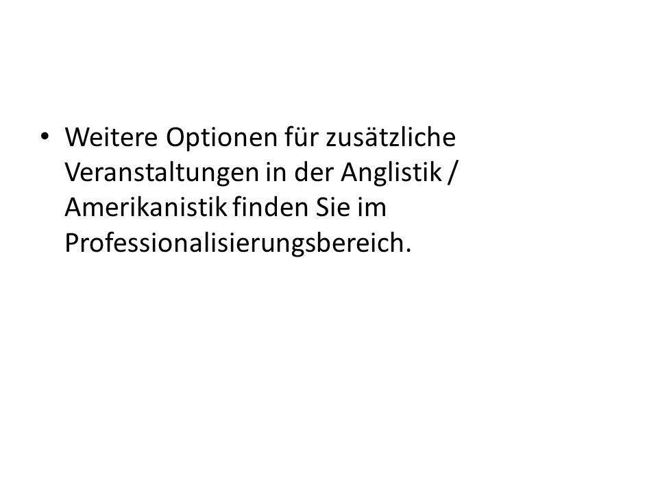 Weitere Optionen für zusätzliche Veranstaltungen in der Anglistik / Amerikanistik finden Sie im Professionalisierungsbereich.