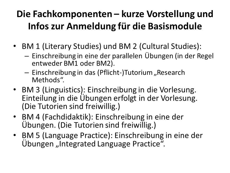 Die Fachkomponenten – kurze Vorstellung und Infos zur Anmeldung für die Basismodule BM 1 (Literary Studies) und BM 2 (Cultural Studies): – Einschreibu