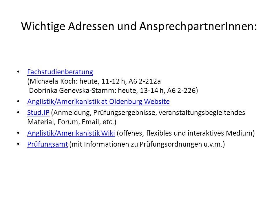 Wichtige Adressen und AnsprechpartnerInnen: Fachstudienberatung (Michaela Koch: heute, 11-12 h, A6 2-212a Dobrinka Genevska-Stamm: heute, 13-14 h, A6