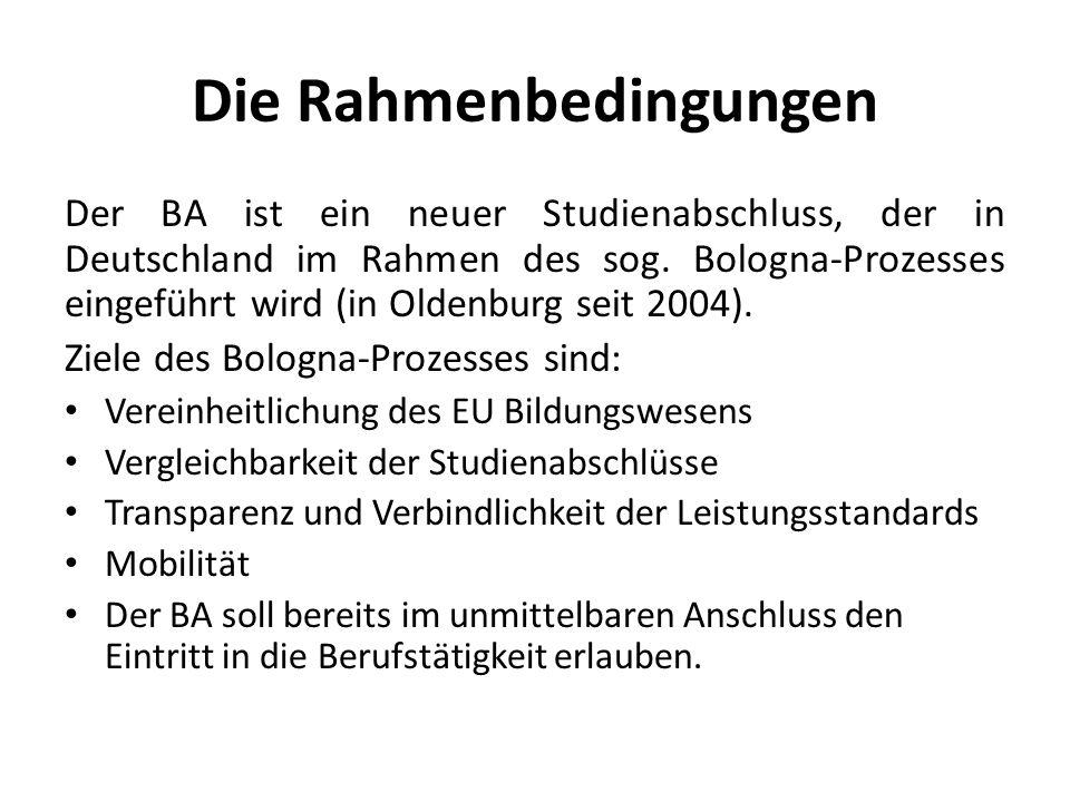 Die Rahmenbedingungen Der BA ist ein neuer Studienabschluss, der in Deutschland im Rahmen des sog. Bologna-Prozesses eingeführt wird (in Oldenburg sei