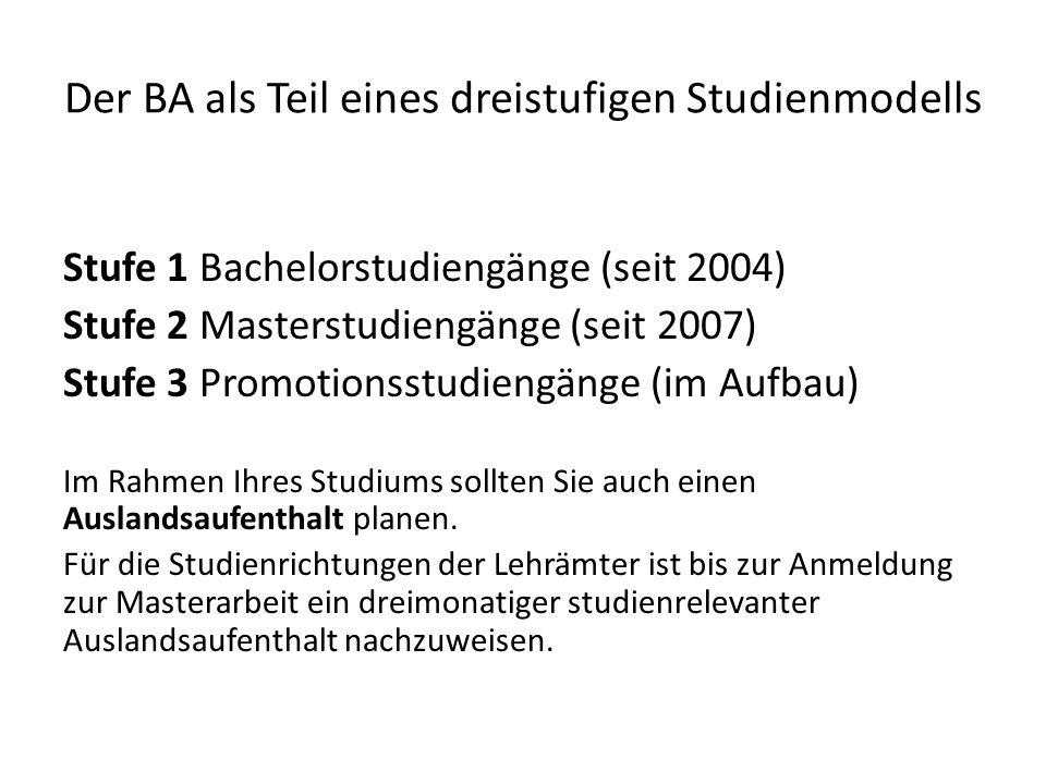 Der BA als Teil eines dreistufigen Studienmodells Stufe 1 Bachelorstudiengänge (seit 2004) Stufe 2 Masterstudiengänge (seit 2007) Stufe 3 Promotionsst