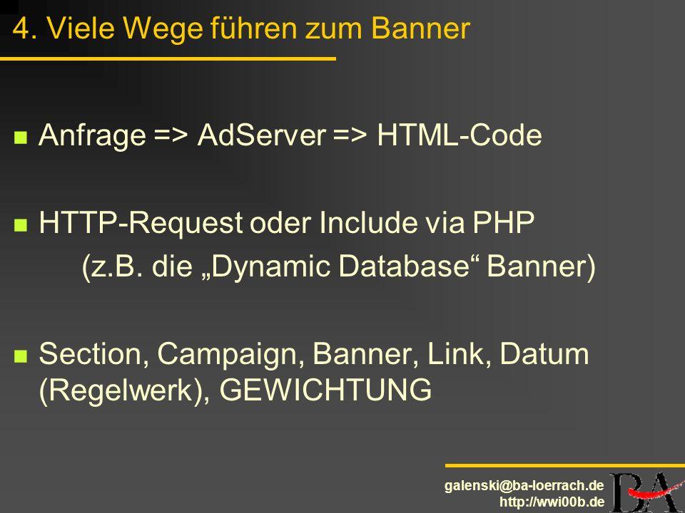 galenski@ba-loerrach.de http://wwi00b.de 4. Viele Wege führen zum Banner Anfrage => AdServer => HTML-Code HTTP-Request oder Include via PHP (z.B. die