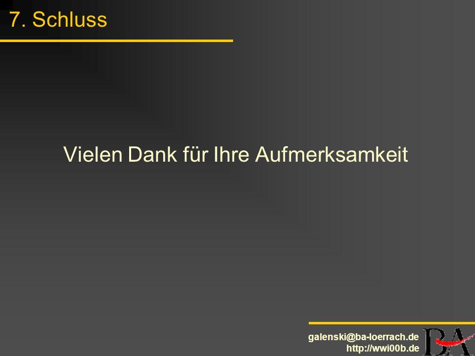galenski@ba-loerrach.de http://wwi00b.de 7. Schluss Vielen Dank für Ihre Aufmerksamkeit