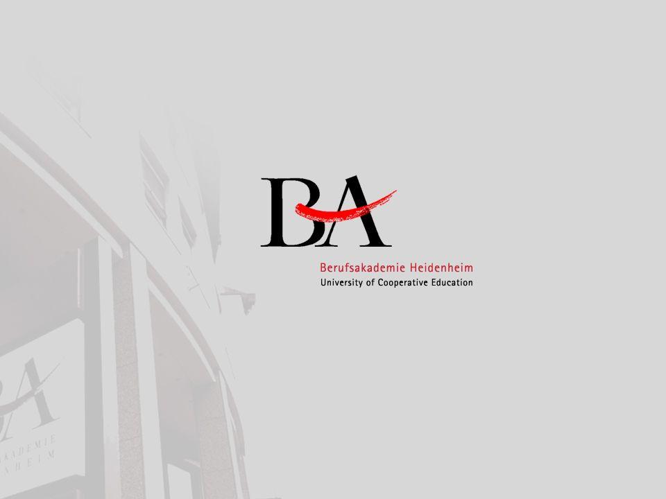 Berufsakademie BA Baden-Württemberg BA Heidenheim Pluspunkte der BA Berufsakademie Heidenheim12 Studiengänge und Vertiefungen an der BA Heidenheim: Bereich Wirtschaft.