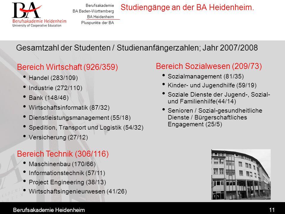 Berufsakademie BA Baden-Württemberg BA Heidenheim Pluspunkte der BA Berufsakademie Heidenheim11 Studiengänge an der BA Heidenheim. Bereich Wirtschaft