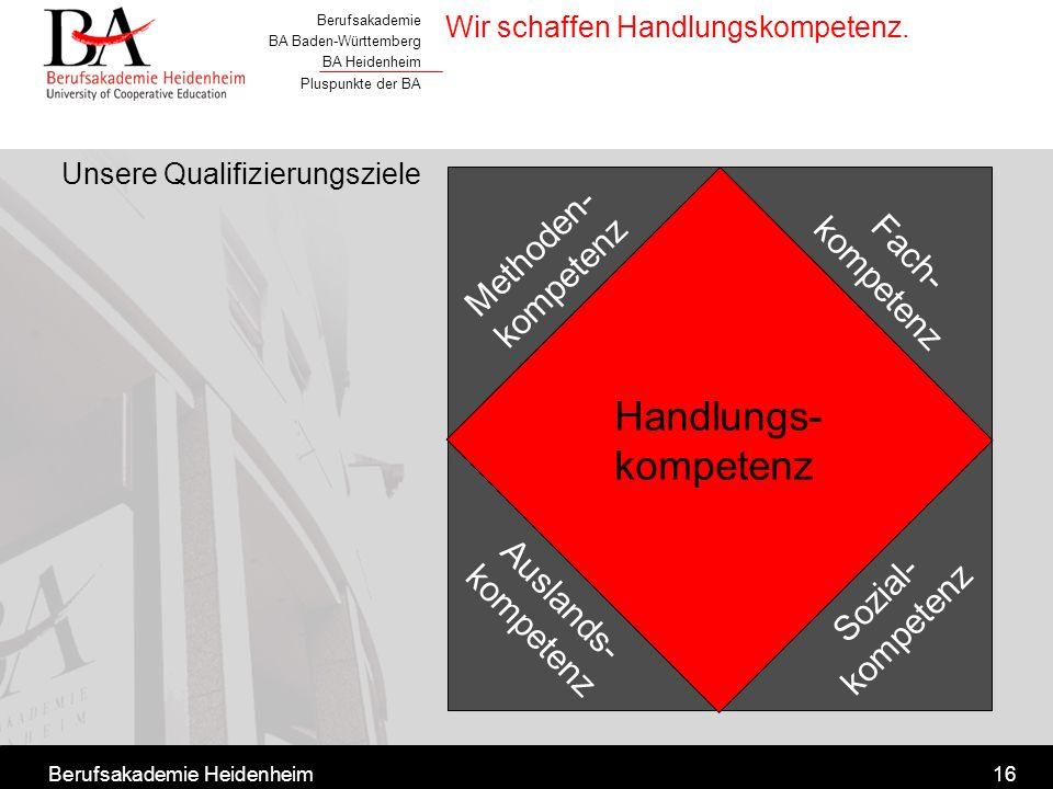 Berufsakademie BA Baden-Württemberg BA Heidenheim Pluspunkte der BA Berufsakademie Heidenheim16 Wir schaffen Handlungskompetenz. Unsere Qualifizierung