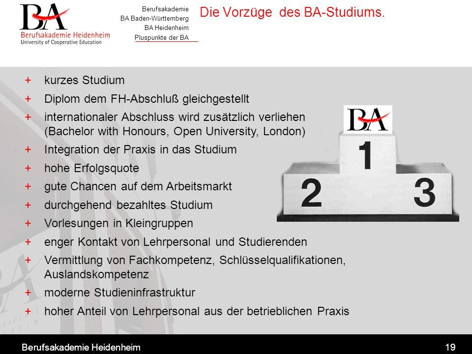Berufsakademie BA Baden-Württemberg BA Heidenheim Pluspunkte der BA Berufsakademie Heidenheim19 Die Vorzüge des BA-Studiums. +kurzes Studium +Diplom d