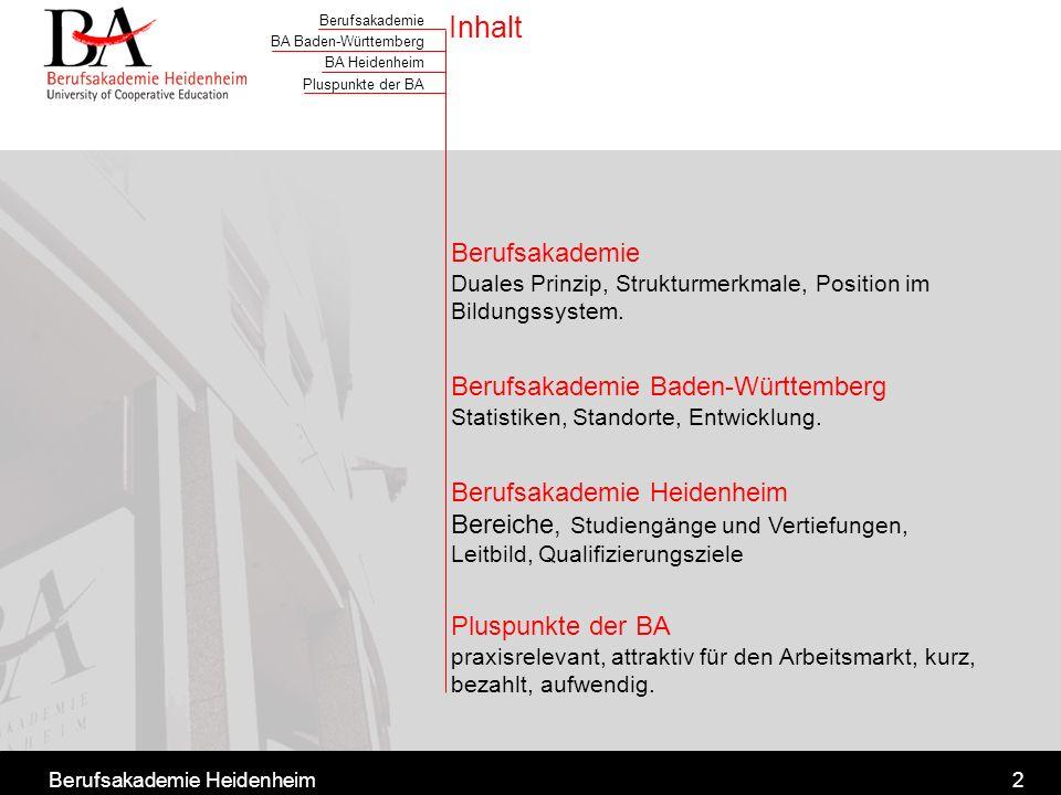 Berufsakademie BA Baden-Württemberg BA Heidenheim Pluspunkte der BA Berufsakademie Heidenheim3 Synergie aus Theorie und Praxis 6 x 12 Wochen wissenschaftliches Studium 6 x 12 Wochen berufspraktische Ausbildung Theorie Staatliche Studienakademie Praxis Ausbildungsstätte (landesweit über 8.000)