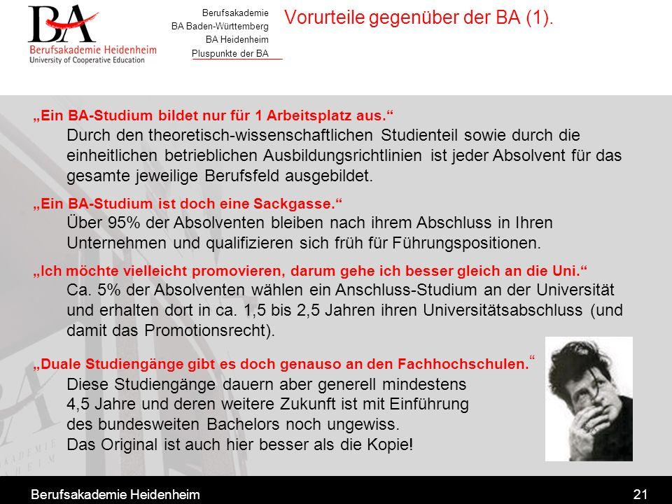 Berufsakademie BA Baden-Württemberg BA Heidenheim Pluspunkte der BA Berufsakademie Heidenheim21 Ein BA-Studium bildet nur für 1 Arbeitsplatz aus. Durc