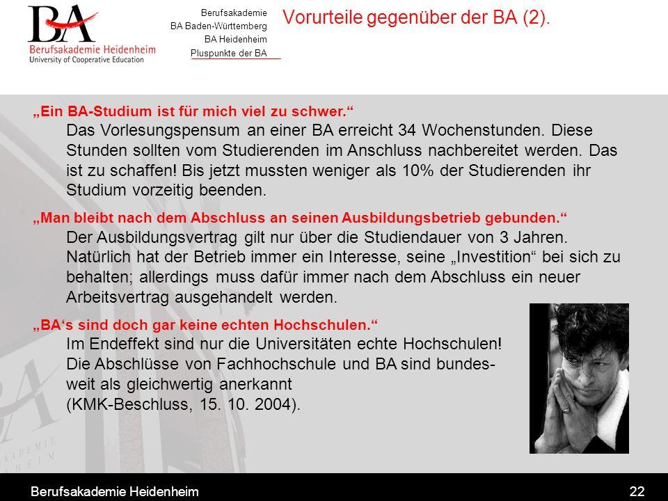Berufsakademie BA Baden-Württemberg BA Heidenheim Pluspunkte der BA Berufsakademie Heidenheim22 Ein BA-Studium ist für mich viel zu schwer. Das Vorles