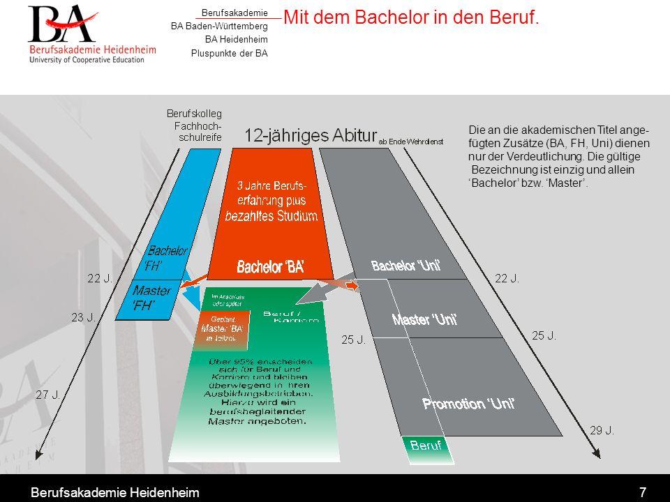 Berufsakademie BA Baden-Württemberg BA Heidenheim Pluspunkte der BA Berufsakademie Heidenheim7 Mit dem Bachelor in den Beruf. Die an die akademischen