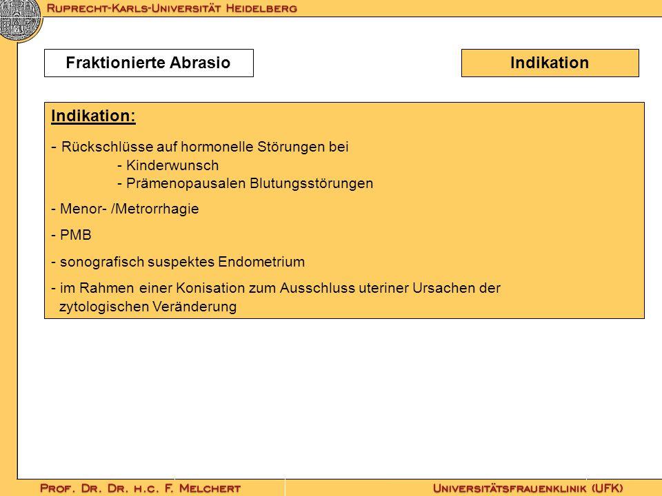 IndikationFraktionierte Abrasio Indikation: - Rückschlüsse auf hormonelle Störungen bei - Kinderwunsch - Prämenopausalen Blutungsstörungen - Menor- /M