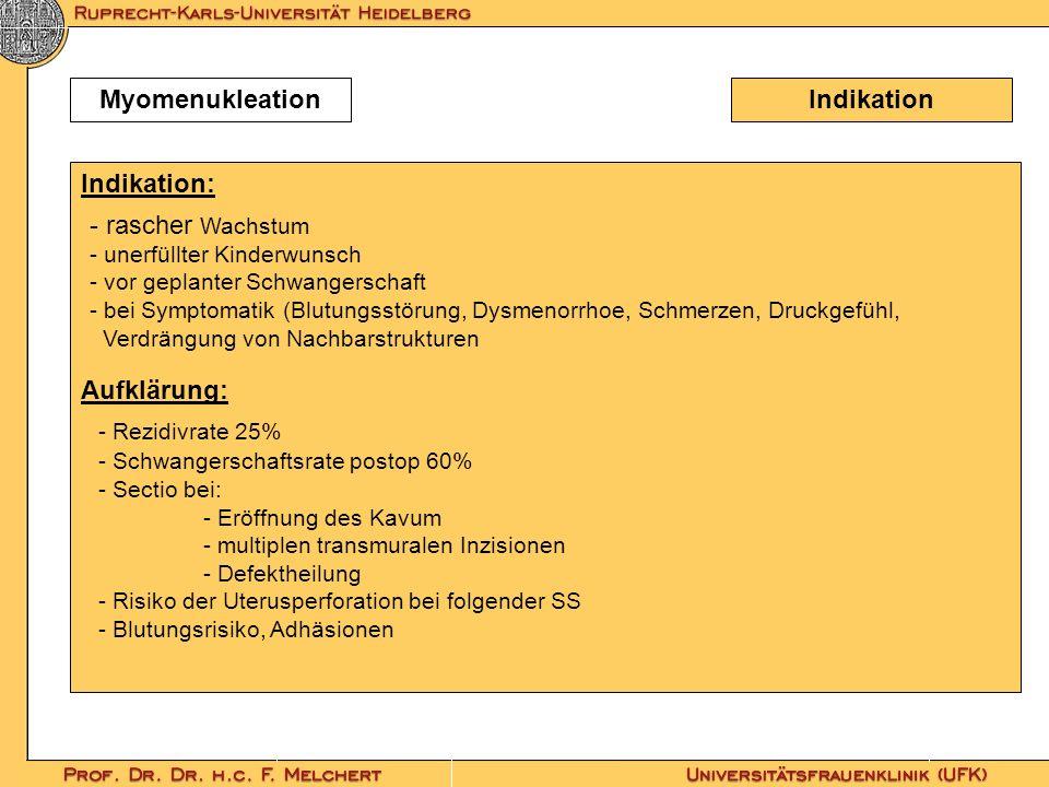 Indikation Indikation: Aufklärung: Myomenukleation - rascher Wachstum - unerfüllter Kinderwunsch - vor geplanter Schwangerschaft - bei Symptomatik (Bl
