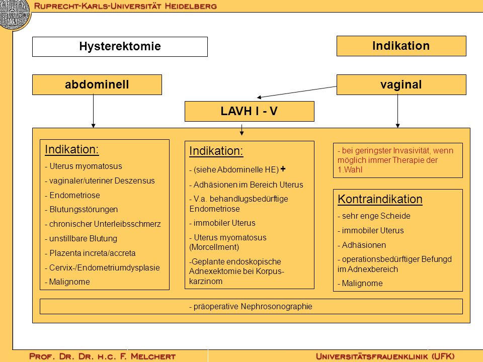 Indikation Hysterektomie abdominell LAVH I - V vaginal Indikation: - Uterus myomatosus - vaginaler/uteriner Deszensus - Endometriose - Blutungsstörung