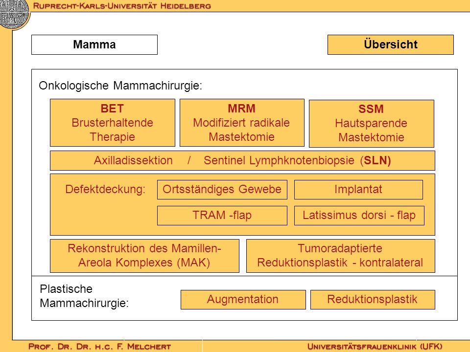 ÜbersichtMamma BET Brusterhaltende Therapie MRM Modifiziert radikale Mastektomie Augmentation Reduktionsplastik TRAM -flapLatissimus dorsi - flap Axil