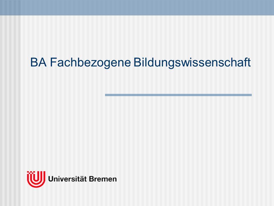 Verteilung der Studienanteile im BA Fachbezogene Bildungswissenschaften Studienaufbau des BA Fachbezogene Bildungswissenschaften (Elementarbereich, Grund- und Sekundarschulen), stufenspezifisches Differenzierungsangebot 1/3 3.