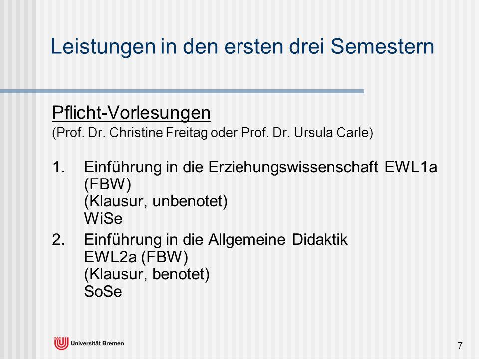 7 Leistungen in den ersten drei Semestern Pflicht-Vorlesungen (Prof. Dr. Christine Freitag oder Prof. Dr. Ursula Carle) 1. Einführung in die Erziehung
