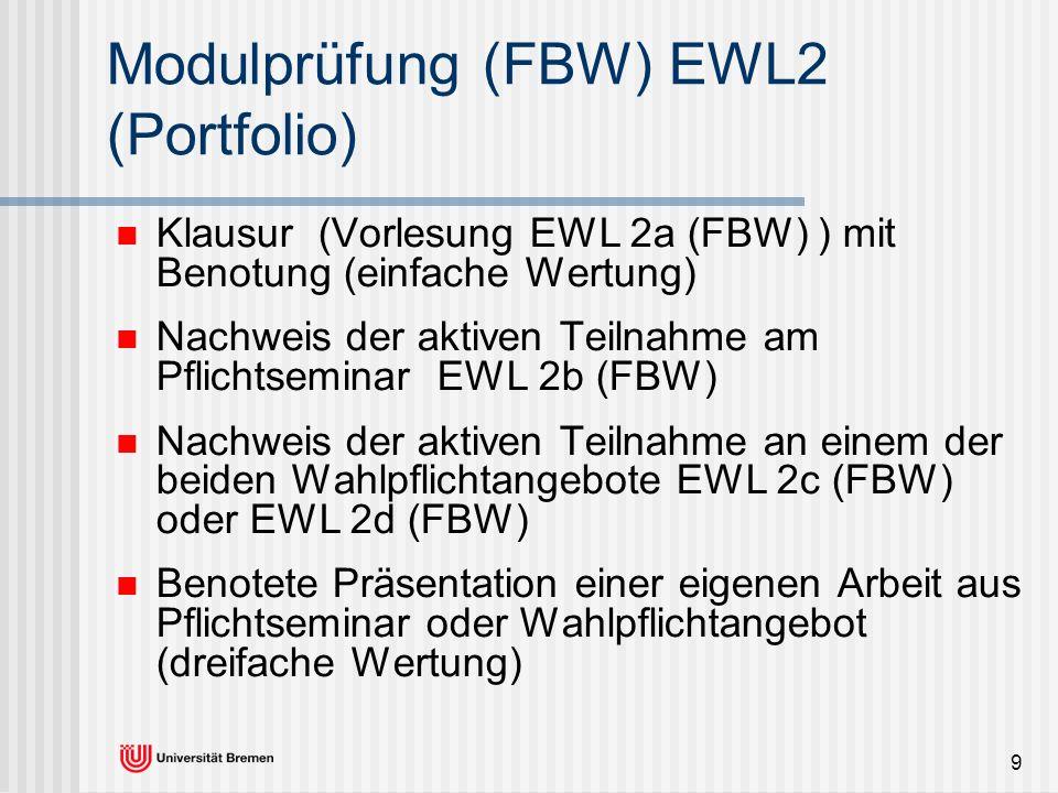 9 Modulprüfung (FBW) EWL2 (Portfolio) Klausur (Vorlesung EWL 2a (FBW) ) mit Benotung (einfache Wertung) Nachweis der aktiven Teilnahme am Pflichtsemin