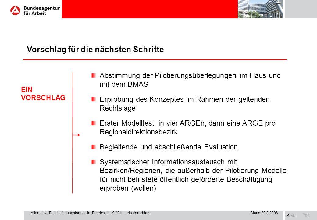 Seite Alternative Beschäftigungsformen im Bereich des SGB II - ein Vorschlag - Stand 29.8.2006 17 I. Der Auftrag Wie groß ist die Zielgruppe vor Ort u