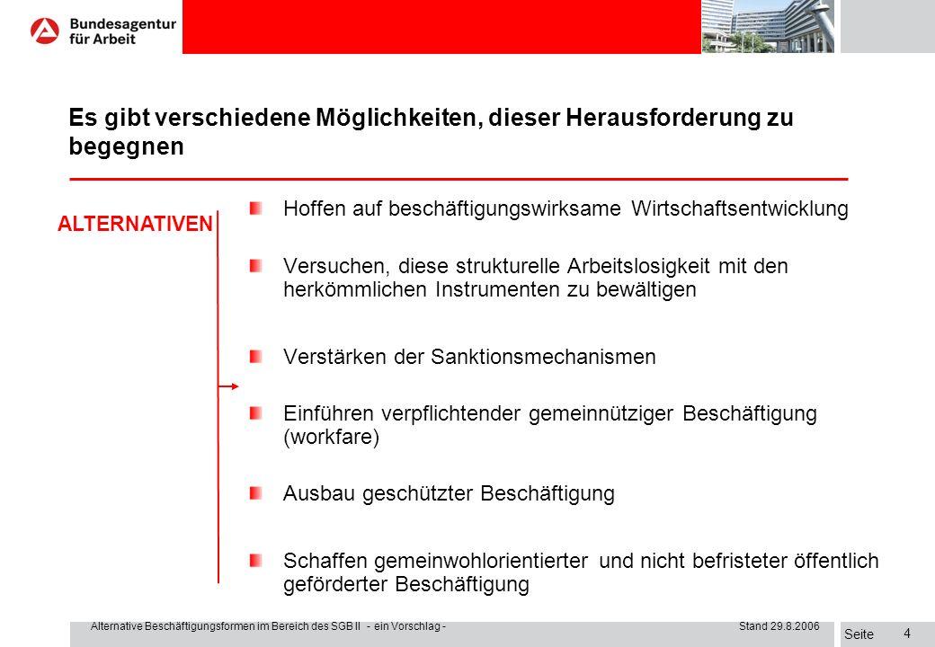 Seite Alternative Beschäftigungsformen im Bereich des SGB II - ein Vorschlag - Stand 29.8.2006 14 I.