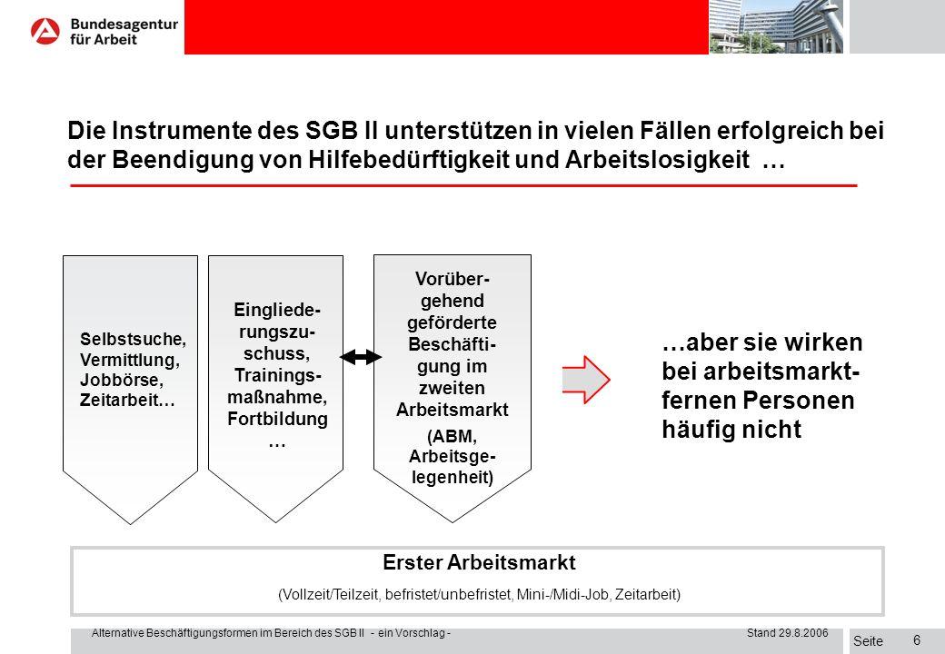 Seite Alternative Beschäftigungsformen im Bereich des SGB II - ein Vorschlag - Stand 29.8.2006 16 I.