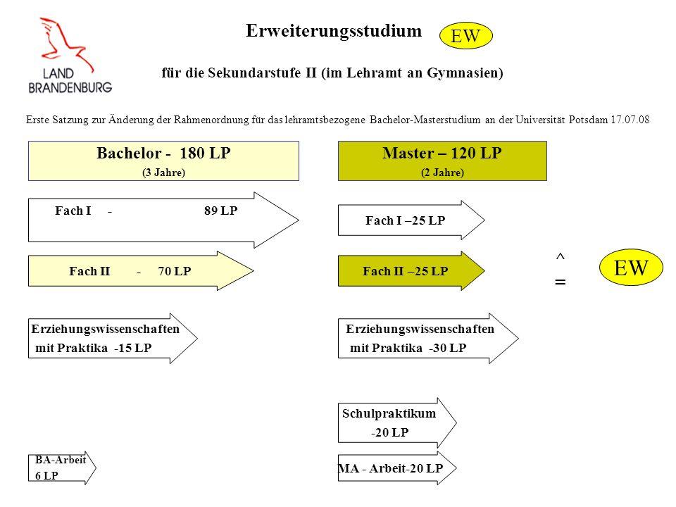 Erweiterungsstudium für die Sekundarstufe II (im Lehramt an Gymnasien) Fach I - 89 LP Bachelor - 180 LP (3 Jahre) Master – 120 LP (2 Jahre) Fach I –25