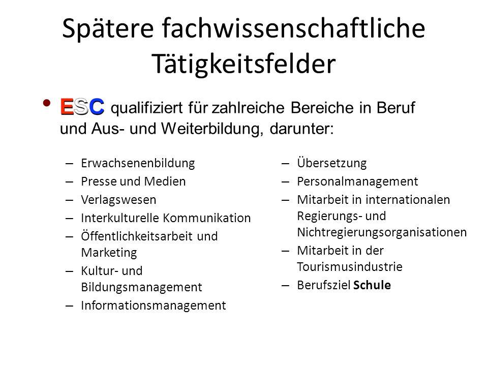 Spätere fachwissenschaftliche Tätigkeitsfelder – Erwachsenenbildung – Presse und Medien – Verlagswesen – Interkulturelle Kommunikation – Öffentlichkei