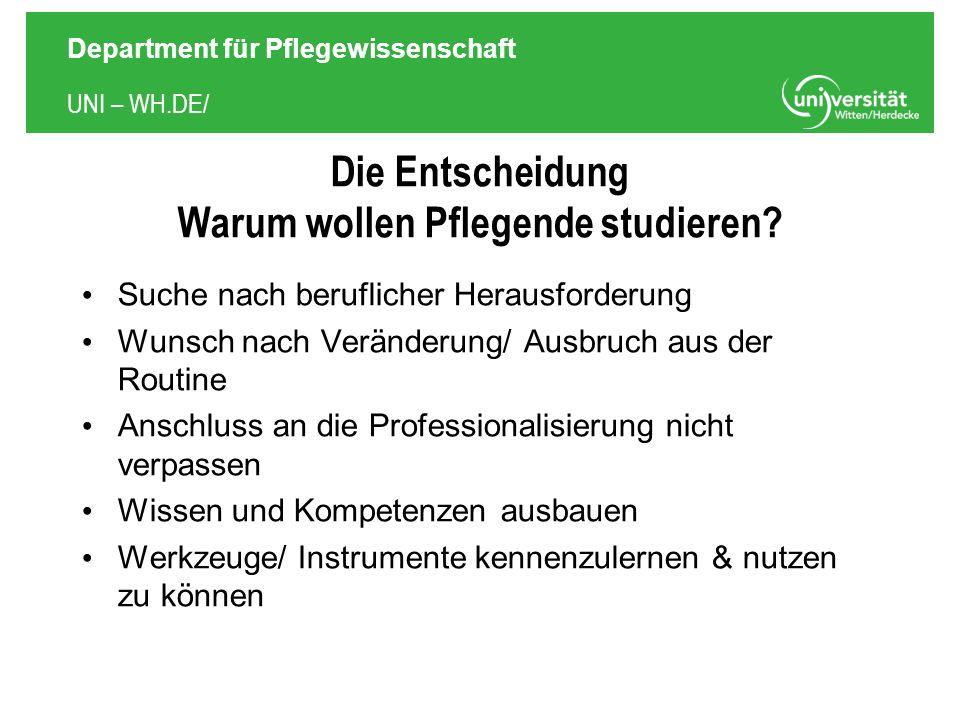 UNI – WH.DE/ Department für Pflegewissenschaft Die Entscheidung Warum wollen Pflegende studieren.