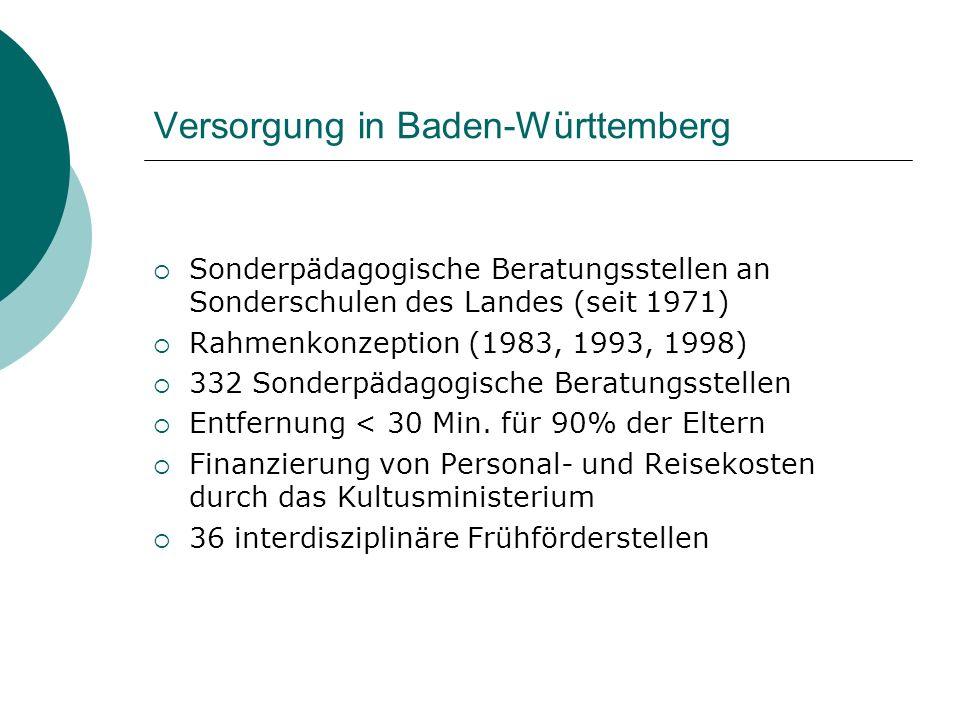 Versorgung in Baden-Württemberg Sonderpädagogische Beratungsstellen an Sonderschulen des Landes (seit 1971) Rahmenkonzeption (1983, 1993, 1998) 332 So