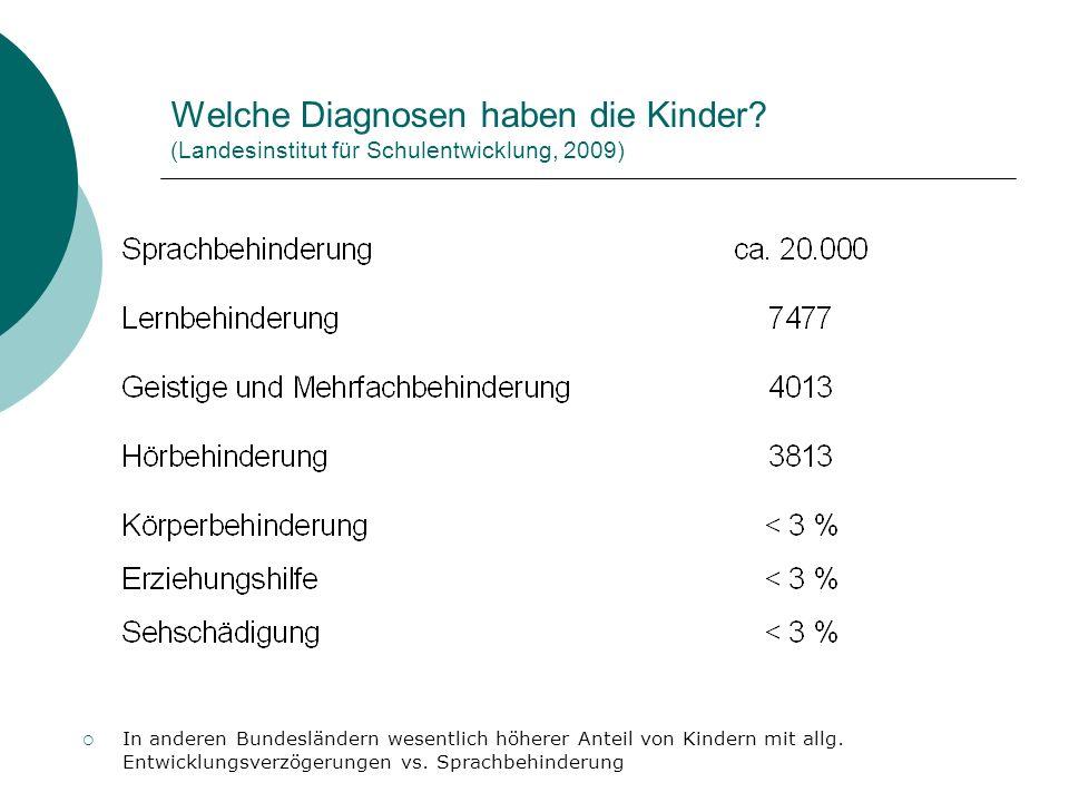 Welche Diagnosen haben die Kinder? (Landesinstitut für Schulentwicklung, 2009) In anderen Bundesländern wesentlich höherer Anteil von Kindern mit allg