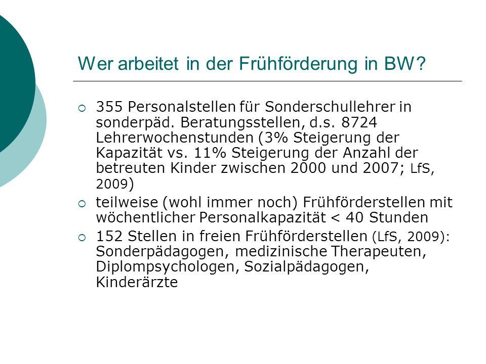 Wer arbeitet in der Frühförderung in BW? 355 Personalstellen für Sonderschullehrer in sonderpäd. Beratungsstellen, d.s. 8724 Lehrerwochenstunden (3% S