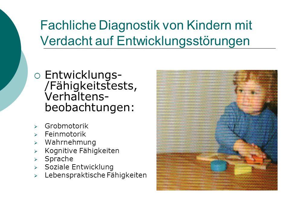 Fachliche Diagnostik von Kindern mit Verdacht auf Entwicklungsstörungen Entwicklungs- /Fähigkeitstests, Verhaltens- beobachtungen: Grobmotorik Feinmot