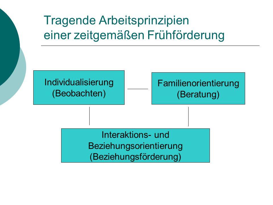 Tragende Arbeitsprinzipien einer zeitgemäßen Frühförderung Familienorientierung (Beratung) Individualisierung (Beobachten) Interaktions- und Beziehung