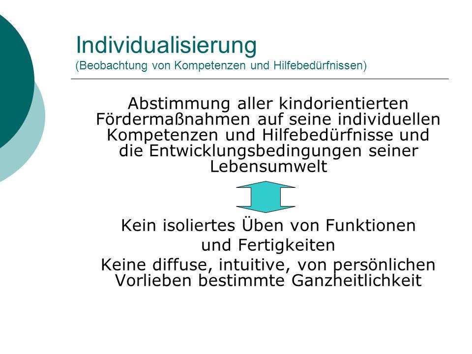 Individualisierung (Beobachtung von Kompetenzen und Hilfebedürfnissen) Abstimmung aller kindorientierten Fördermaßnahmen auf seine individuellen Kompe