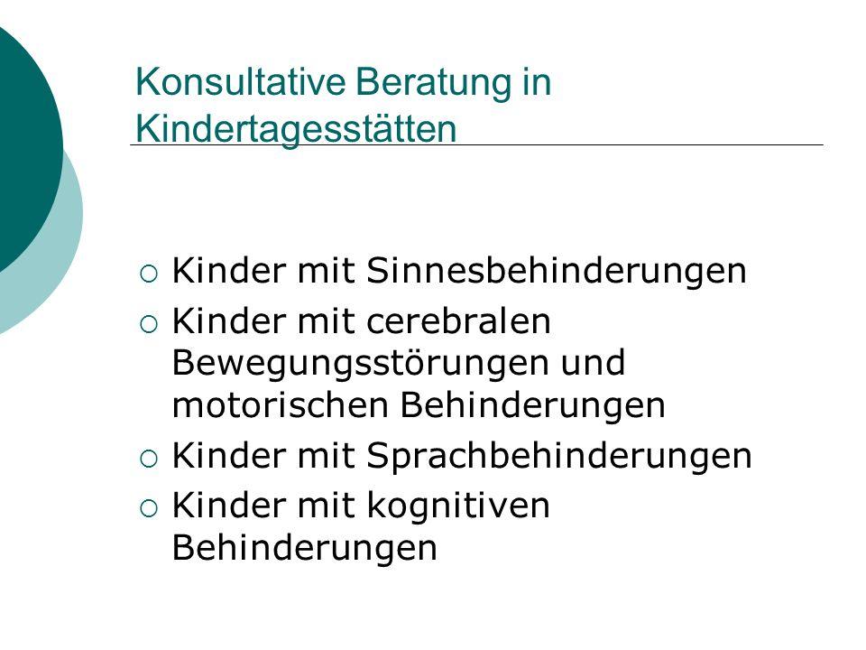 Konsultative Beratung in Kindertagesstätten Kinder mit Sinnesbehinderungen Kinder mit cerebralen Bewegungsstörungen und motorischen Behinderungen Kind