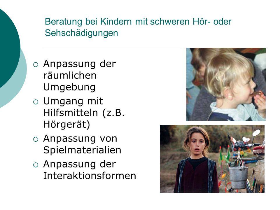 Beratung bei Kindern mit schweren Hör- oder Sehschädigungen Anpassung der räumlichen Umgebung Umgang mit Hilfsmitteln (z.B. Hörgerät) Anpassung von Sp