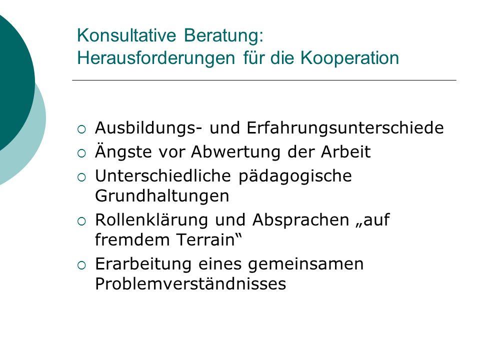 Konsultative Beratung: Herausforderungen für die Kooperation Ausbildungs- und Erfahrungsunterschiede Ängste vor Abwertung der Arbeit Unterschiedliche
