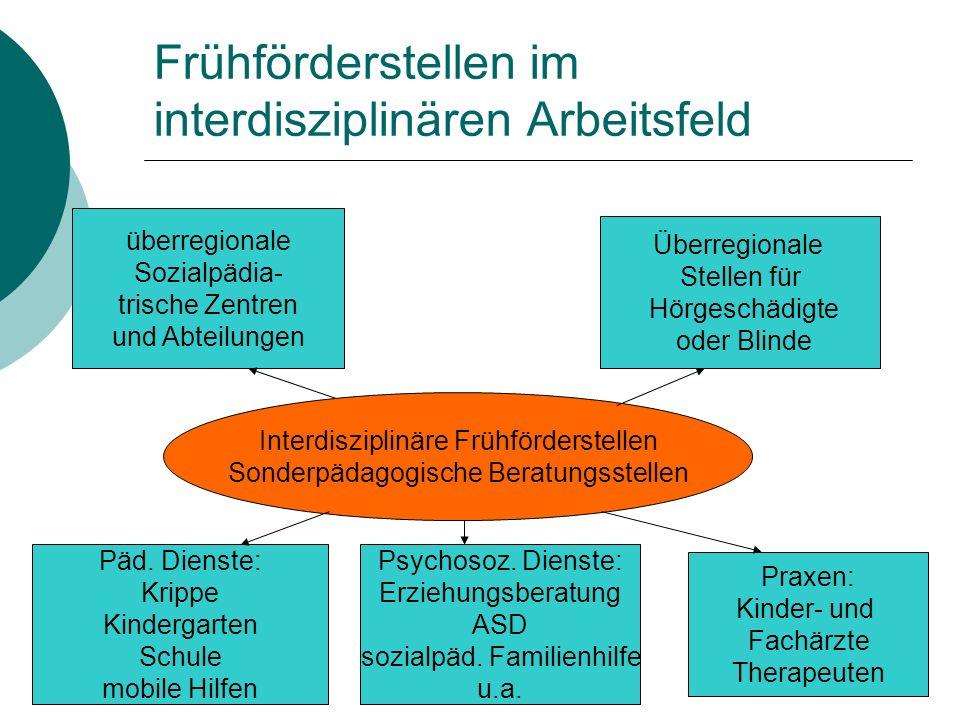 Frühförderstellen im interdisziplinären Arbeitsfeld überregionale Sozialpädia- trische Zentren und Abteilungen Überregionale Stellen für Hörgeschädigt