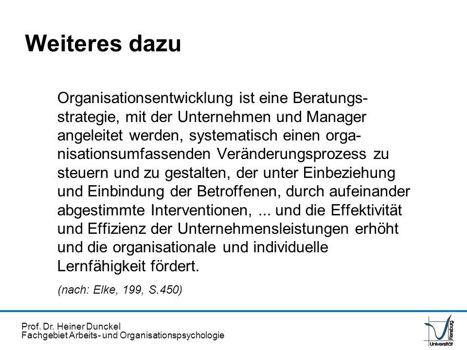 Prof. Dr. Heiner Dunckel Fachgebiet Arbeits- und Organisationspsychologie Organisationsentwicklung ist eine Beratungs- strategie, mit der Unternehmen