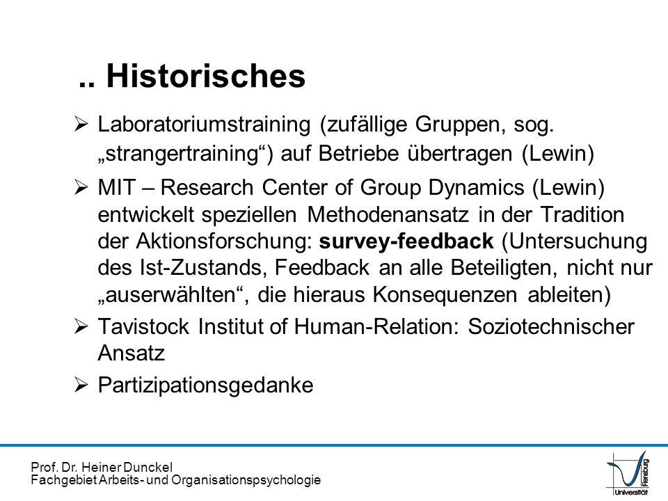 Prof. Dr. Heiner Dunckel Fachgebiet Arbeits- und Organisationspsychologie Laboratoriumstraining (zufällige Gruppen, sog. strangertraining) auf Betrieb