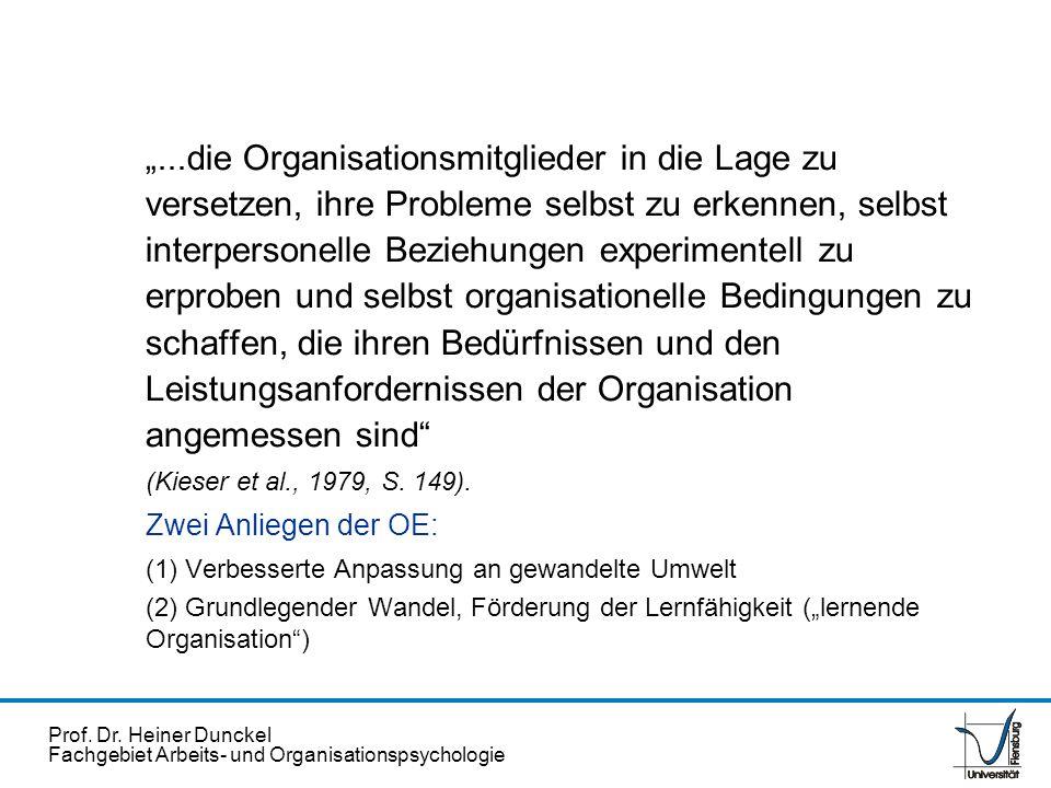 Prof. Dr. Heiner Dunckel Fachgebiet Arbeits- und Organisationspsychologie...die Organisationsmitglieder in die Lage zu versetzen, ihre Probleme selbst