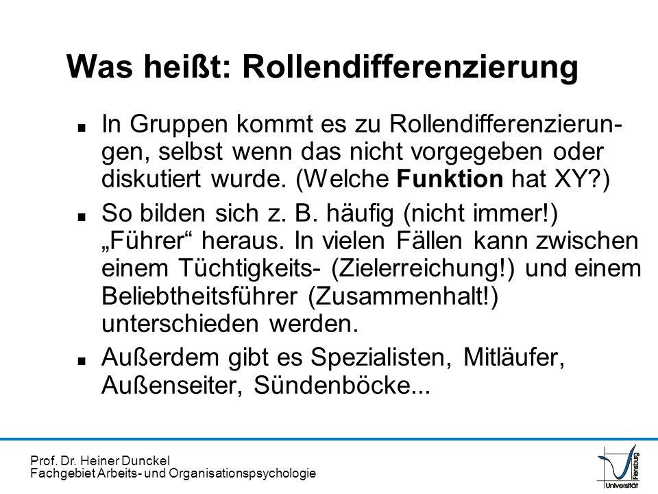Prof. Dr. Heiner Dunckel Fachgebiet Arbeits- und Organisationspsychologie Was heißt: Rollendifferenzierung n In Gruppen kommt es zu Rollendifferenzier