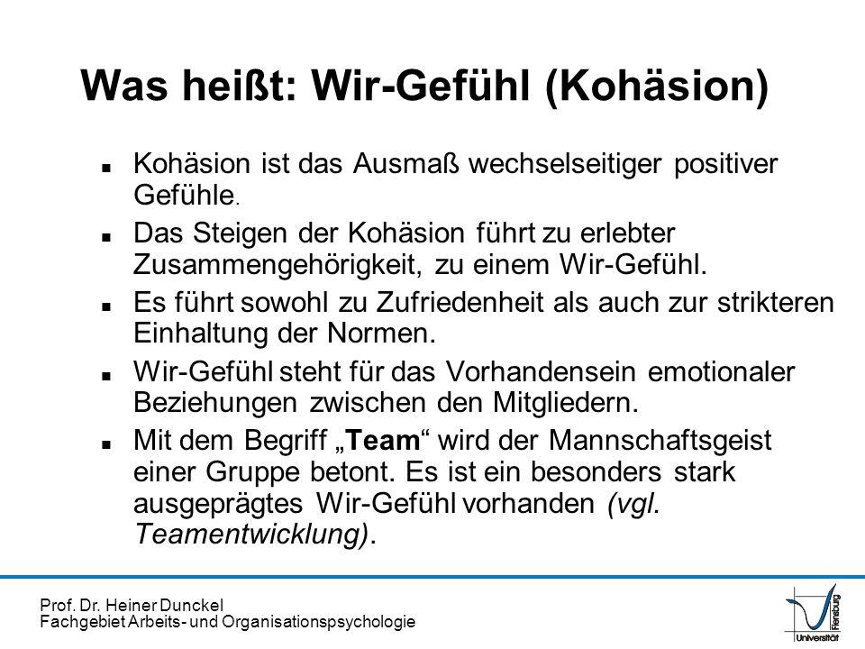 Prof. Dr. Heiner Dunckel Fachgebiet Arbeits- und Organisationspsychologie Was heißt: Wir-Gefühl (Kohäsion) n Kohäsion ist das Ausmaß wechselseitiger p