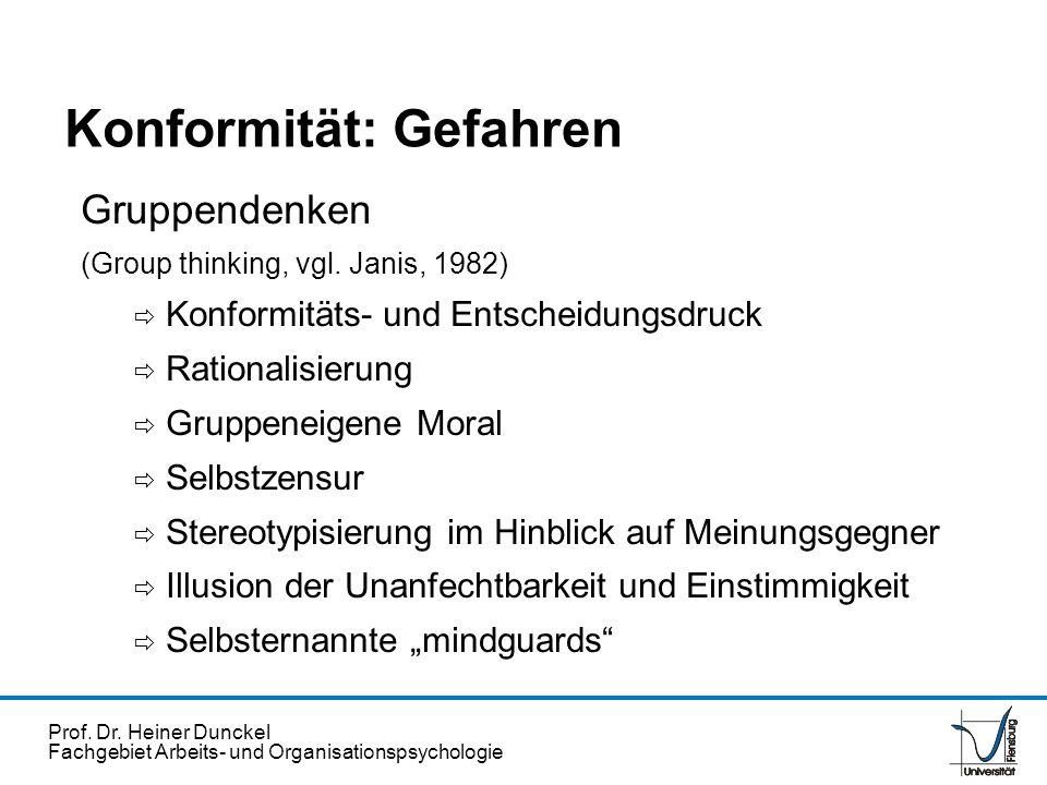 Prof. Dr. Heiner Dunckel Fachgebiet Arbeits- und Organisationspsychologie Konformität: Gefahren Gruppendenken (Group thinking, vgl. Janis, 1982) Konfo