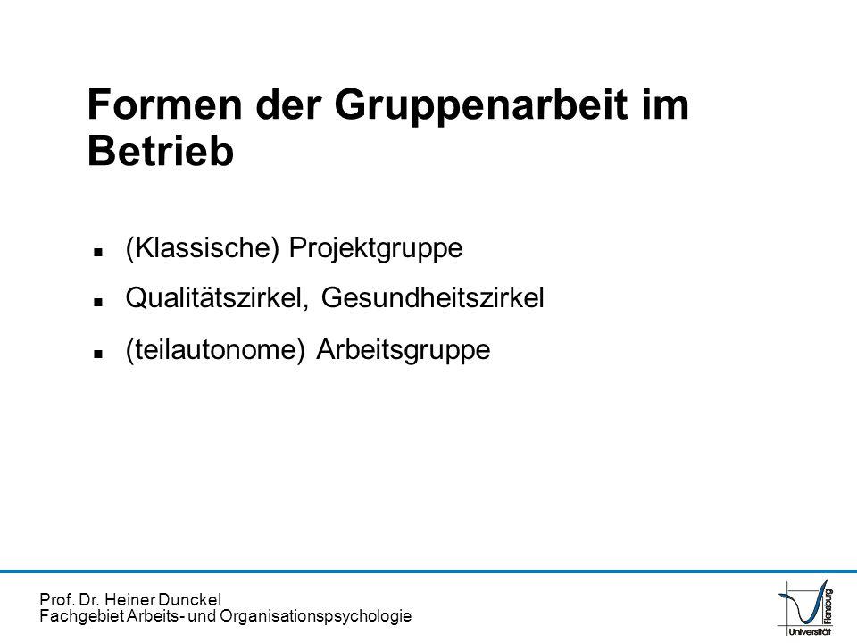 Prof. Dr. Heiner Dunckel Fachgebiet Arbeits- und Organisationspsychologie Formen der Gruppenarbeit im Betrieb n (Klassische) Projektgruppe n Qualitäts