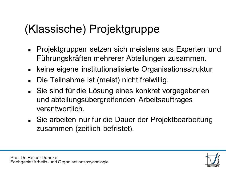 Prof. Dr. Heiner Dunckel Fachgebiet Arbeits- und Organisationspsychologie (Klassische) Projektgruppe n Projektgruppen setzen sich meistens aus Experte