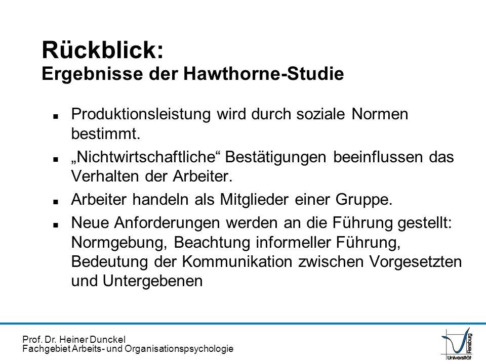 Prof. Dr. Heiner Dunckel Fachgebiet Arbeits- und Organisationspsychologie Rückblick: Ergebnisse der Hawthorne-Studie n Produktionsleistung wird durch